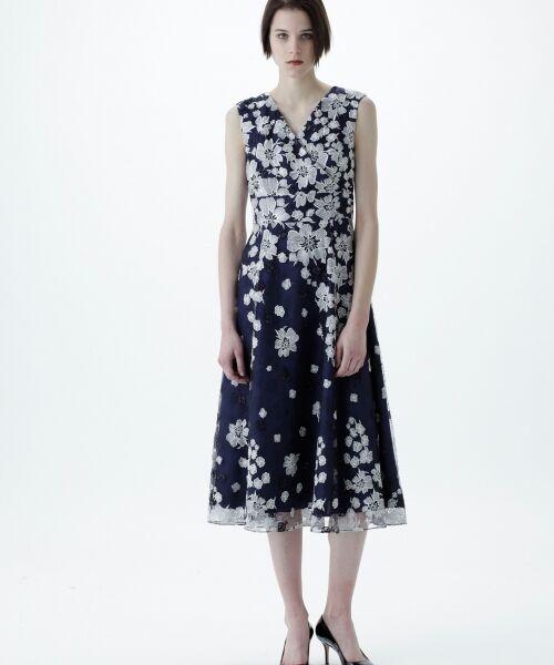 GRACE CONTINENTAL / グレースコンチネンタル ドレス | バイカラーフラワーチュールワンピース(ネイビー)