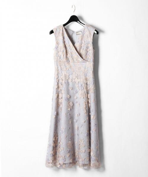 GRACE CONTINENTAL / グレースコンチネンタル ドレス | バイカラーフラワーチュールワンピース(グレー)