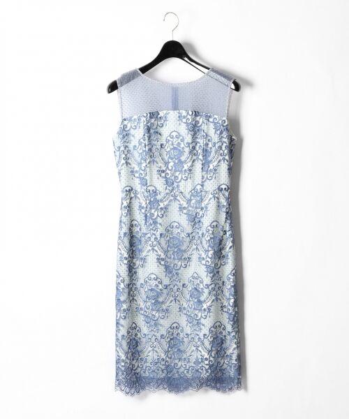 GRACE CONTINENTAL / グレースコンチネンタル ドレス | チュールレース刺繍タイトワンピース(ブルー)