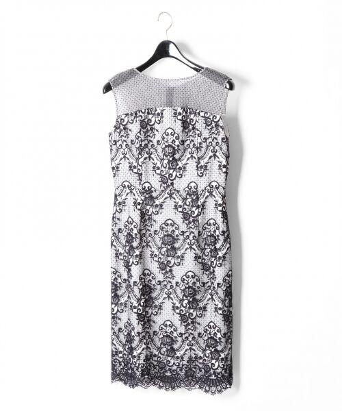 GRACE CONTINENTAL / グレースコンチネンタル ドレス | チュールレース刺繍タイトワンピース(ネイビー)