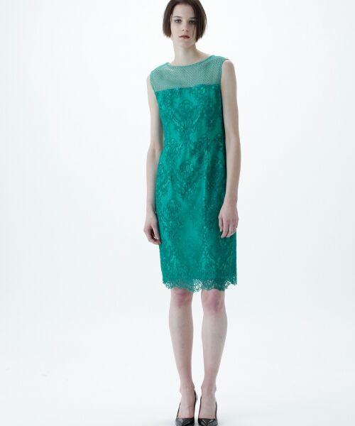 GRACE CONTINENTAL / グレースコンチネンタル ドレス | チュールレース刺繍タイトワンピース(グリーン)