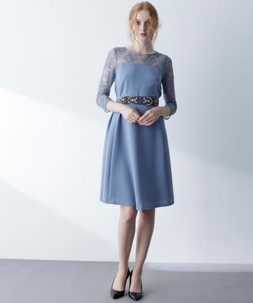 GRACE CONTINENTAL / グレースコンチネンタル ドレス | ビジューベルトワンピース(ブルー)