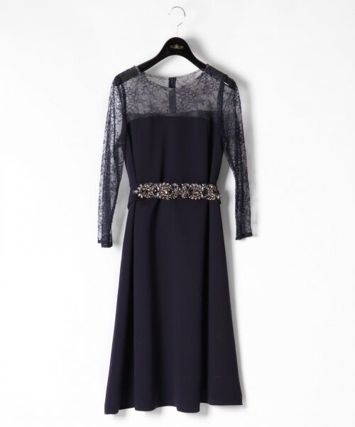 GRACE CONTINENTAL / グレースコンチネンタル ドレス | ビジューベルトワンピース(ネイビー)