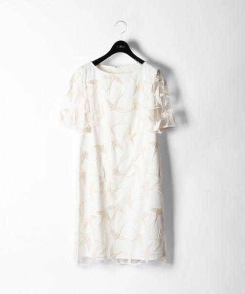 GRACE CONTINENTAL / グレースコンチネンタル ドレス | バードチュールワンピース(ホワイト)