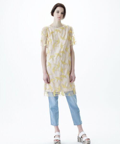 GRACE CONTINENTAL / グレースコンチネンタル ドレス | バードチュールワンピース(イエロー)