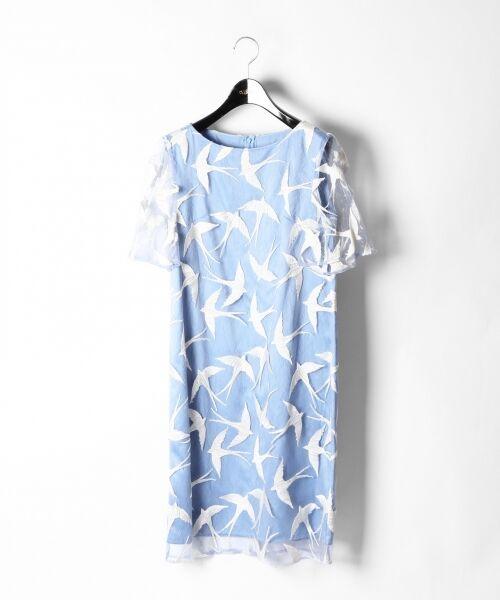 GRACE CONTINENTAL / グレースコンチネンタル ドレス | バードチュールワンピース(ブルー)
