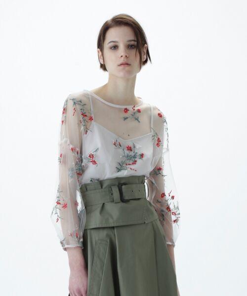 GRACE CONTINENTAL / グレースコンチネンタル Tシャツ | フラワーチュール刺繍トップ(キナリ)