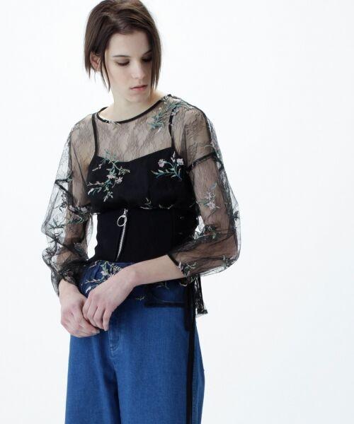 GRACE CONTINENTAL / グレースコンチネンタル Tシャツ | フラワーチュール刺繍トップ(ブラック)