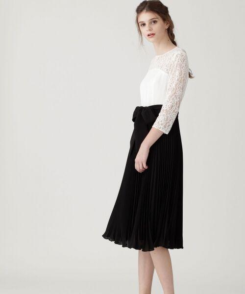 GRACE CONTINENTAL / グレースコンチネンタル ドレス | レース切替プリーツワンピース | 詳細1