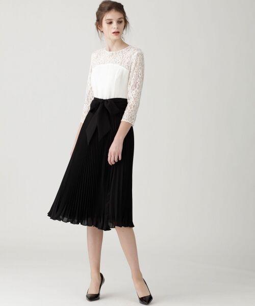 GRACE CONTINENTAL / グレースコンチネンタル ドレス | レース切替プリーツワンピース(キナリ)