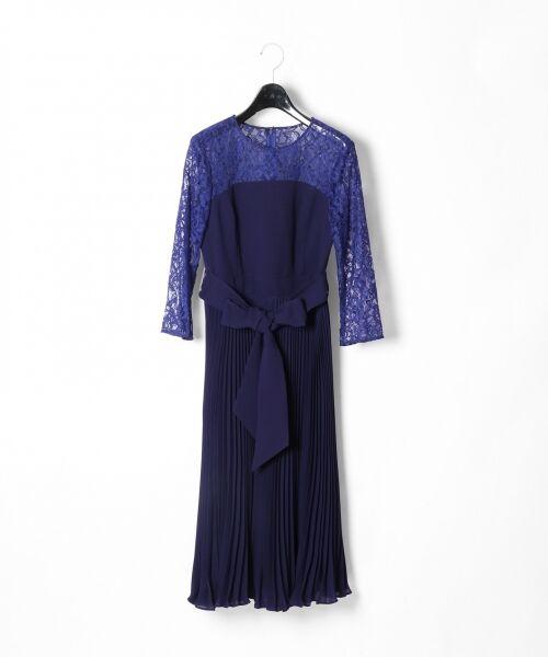 GRACE CONTINENTAL / グレースコンチネンタル ドレス | レース切替プリーツワンピース(ネイビー)