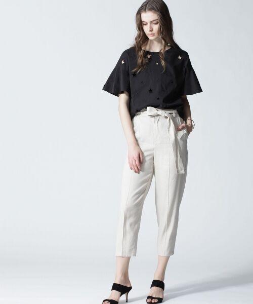 GRACE CONTINENTAL / グレースコンチネンタル Tシャツ | スターカットワークトップ(ブラック)