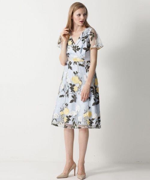 GRACE CONTINENTAL / グレースコンチネンタル ドレス   ローズ刺繍フレアワンピース(ブルー)