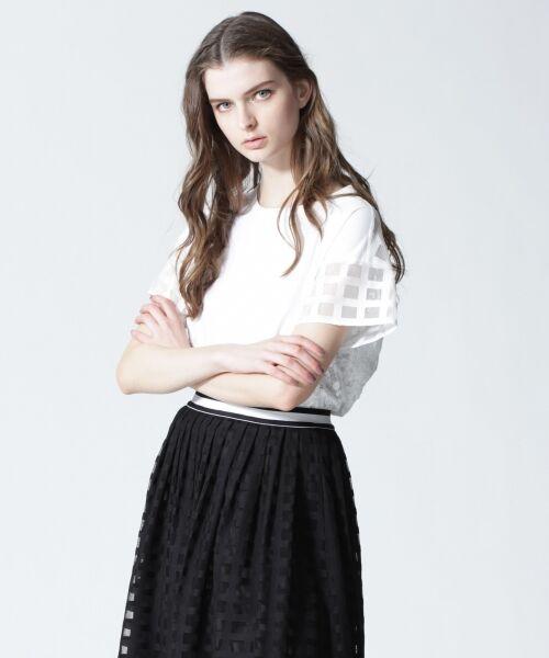GRACE CONTINENTAL / グレースコンチネンタル Tシャツ | チェックレースコンビトップ | 詳細1