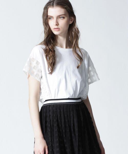 GRACE CONTINENTAL / グレースコンチネンタル Tシャツ | チェックレースコンビトップ(ホワイト)