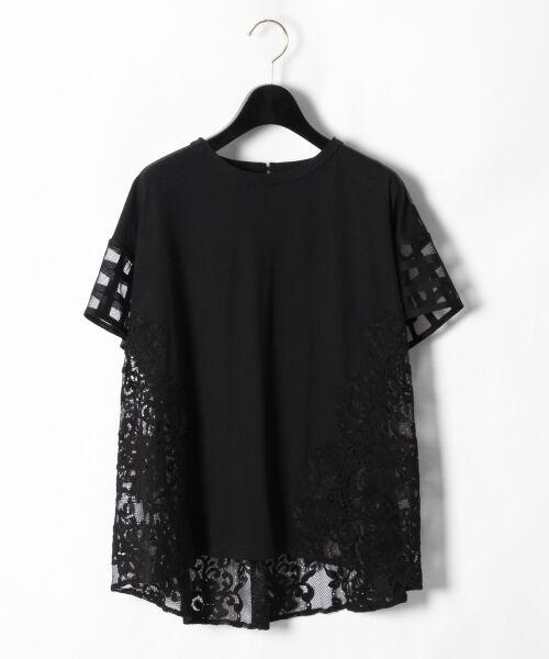 GRACE CONTINENTAL / グレースコンチネンタル Tシャツ | チェックレースコンビトップ(ブラック)