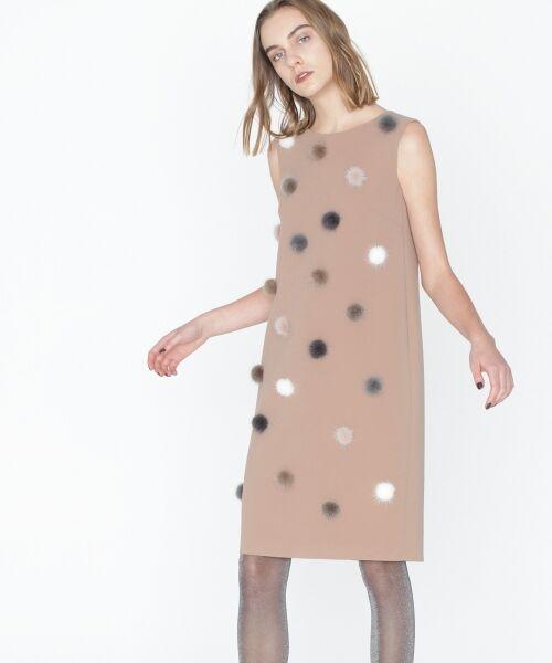 GRACE CONTINENTAL / グレースコンチネンタル ドレス | ミンクポンポンドレス(ベージュ)