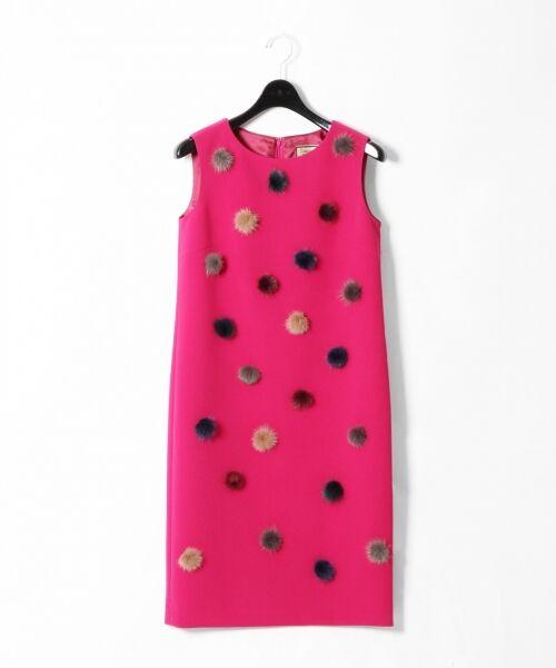 GRACE CONTINENTAL / グレースコンチネンタル ドレス | ミンクポンポンドレス(ピンク)