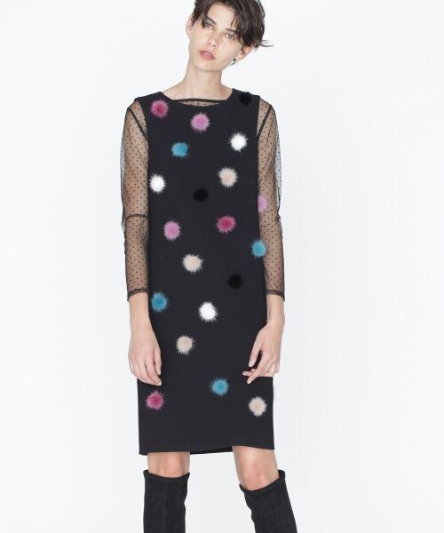 GRACE CONTINENTAL / グレースコンチネンタル ドレス | ミンクポンポンドレス(ブラック)