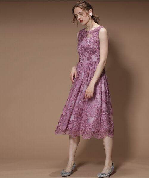 GRACE CONTINENTAL / グレースコンチネンタル ドレス | トリミングレースワンピース(ピンク)