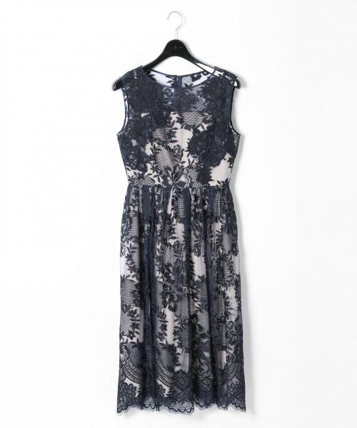 GRACE CONTINENTAL / グレースコンチネンタル ドレス | トリミングレースワンピース(ネイビー)