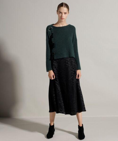 GRACE CONTINENTAL / グレースコンチネンタル ミニ・ひざ丈スカート | シルクサテンジャガードスカート(ブラック)