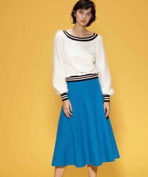 GRACE CONTINENTAL / グレースコンチネンタル ミニ・ひざ丈スカート | 圧縮ニットスカート(ブルー)