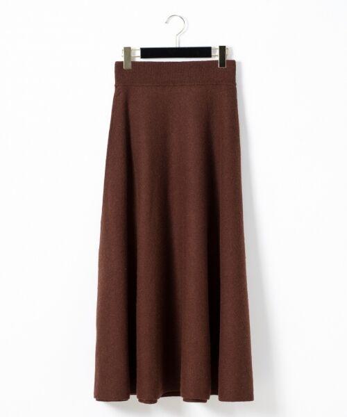 GRACE CONTINENTAL / グレースコンチネンタル ミニ・ひざ丈スカート | 圧縮ニットスカート(ブラウン)