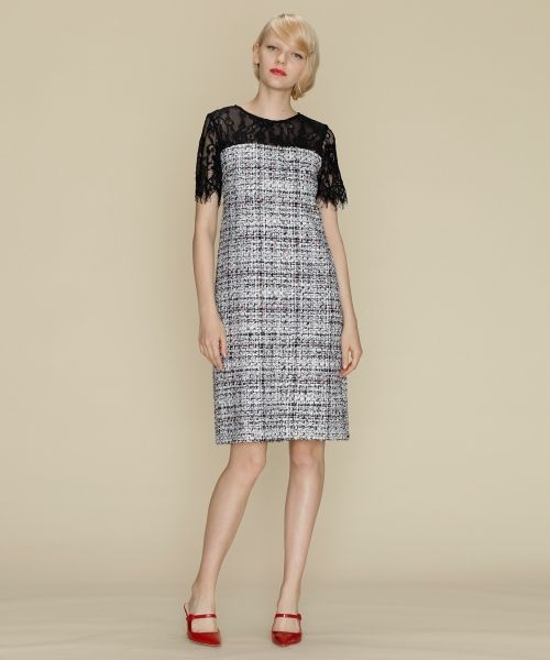 GRACE CONTINENTAL / グレースコンチネンタル ドレス | ネオンネップツイードワンピース(マルチ)