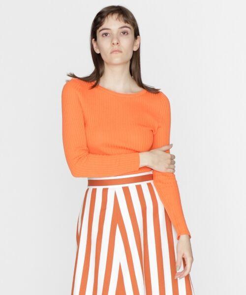 GRACE CONTINENTAL / グレースコンチネンタル ニット・セーター | クルーリブニットトップ(オレンジ)