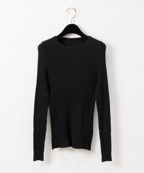 GRACE CONTINENTAL / グレースコンチネンタル ニット・セーター | クルーリブニットトップ(ブラック)
