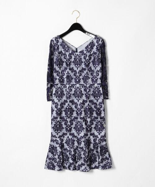 GRACE CONTINENTAL / グレースコンチネンタル ドレス | 刺繍マーメイドワンピース(ネイビー)