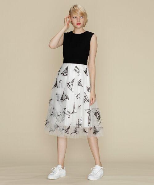 GRACE CONTINENTAL / グレースコンチネンタル ドレス | チュールスパンコール刺繍ワンピース(ホワイト)