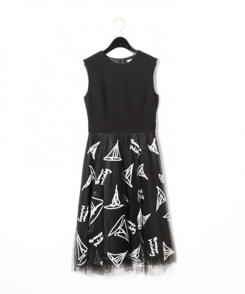 GRACE CONTINENTAL / グレースコンチネンタル ドレス | チュールスパンコール刺繍ワンピース(ブラック)