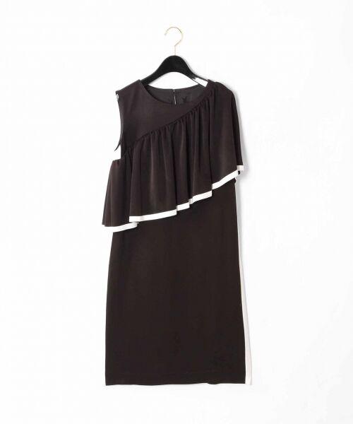GRACE CONTINENTAL / グレースコンチネンタル ドレス   ライン配色ラッフルドレス(ブラック)