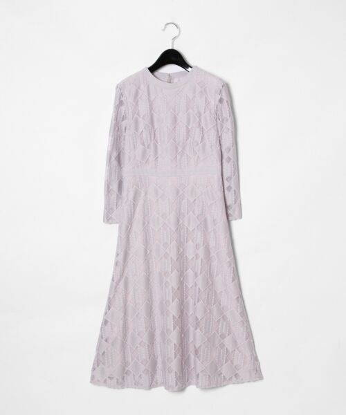 GRACE CONTINENTAL / グレースコンチネンタル ドレス | ジオメトリックレースワンピース(ラベンダー)