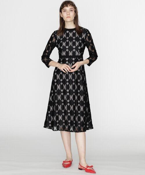 GRACE CONTINENTAL / グレースコンチネンタル ドレス | ジオメトリックレースワンピース(ブラック)