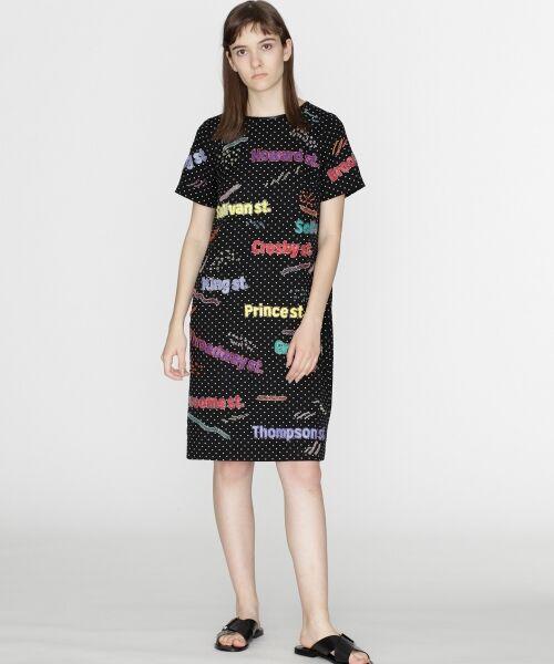 GRACE CONTINENTAL / グレースコンチネンタル ドレス | ロゴスパンワンピース(ブラック)