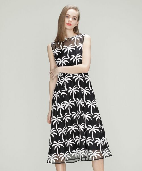 GRACE CONTINENTAL / グレースコンチネンタル ドレス | Palm tree ドレス(ブラック)