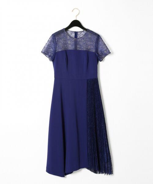 GRACE CONTINENTAL / グレースコンチネンタル ドレス | レースプリーツ切替ワンピース(ブルー)