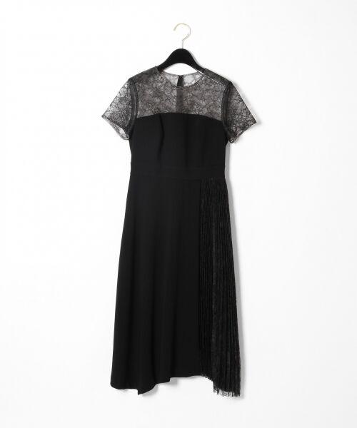 GRACE CONTINENTAL / グレースコンチネンタル ドレス | レースプリーツ切替ワンピース(ブラック)