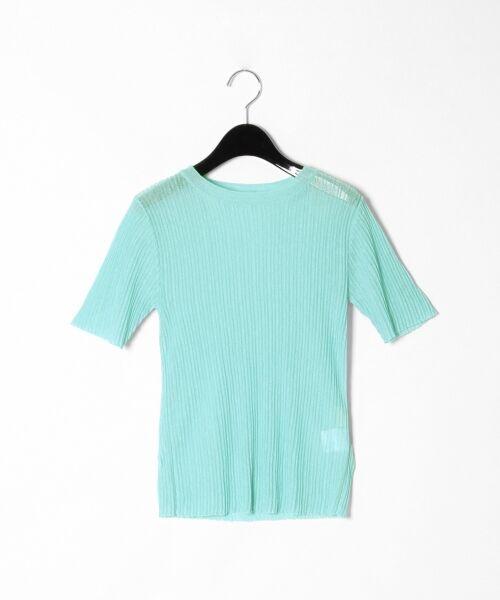 GRACE CONTINENTAL / グレースコンチネンタル ニット・セーター | シアーリブニットトップ(ブルー)