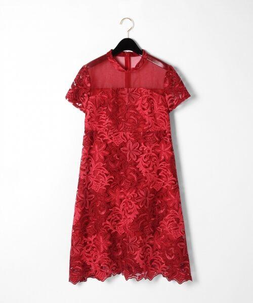 GRACE CONTINENTAL / グレースコンチネンタル ドレス | チュール刺繍フレアワンピース(レッド)