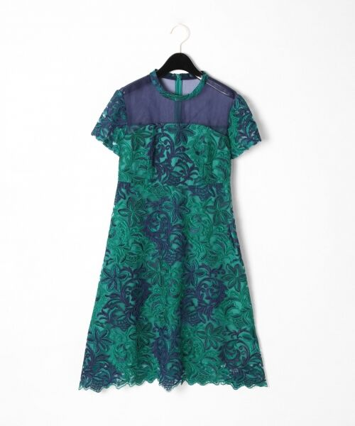 GRACE CONTINENTAL / グレースコンチネンタル ドレス | チュール刺繍フレアワンピース(グリーン)