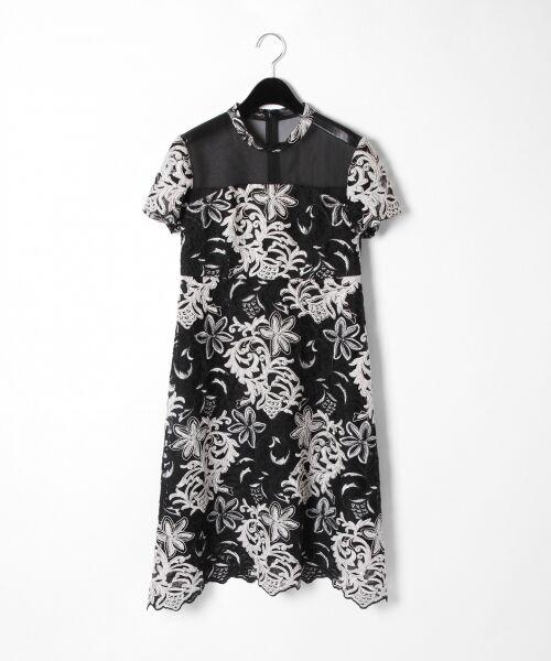 GRACE CONTINENTAL / グレースコンチネンタル ドレス | チュール刺繍フレアワンピース(ブラック)