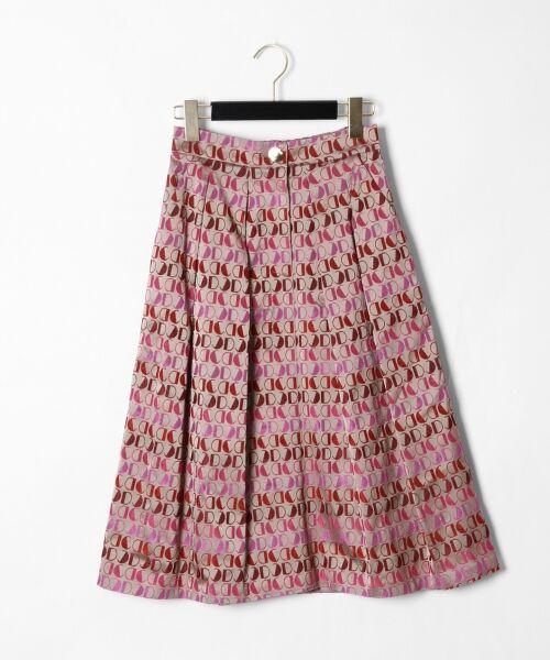 GRACE CONTINENTAL / グレースコンチネンタル ミニ・ひざ丈スカート | モノグラムジャガードスカート(ピンク)