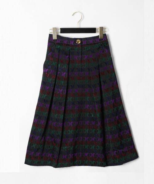 GRACE CONTINENTAL / グレースコンチネンタル ミニ・ひざ丈スカート | モノグラムジャガードスカート(ブラック)