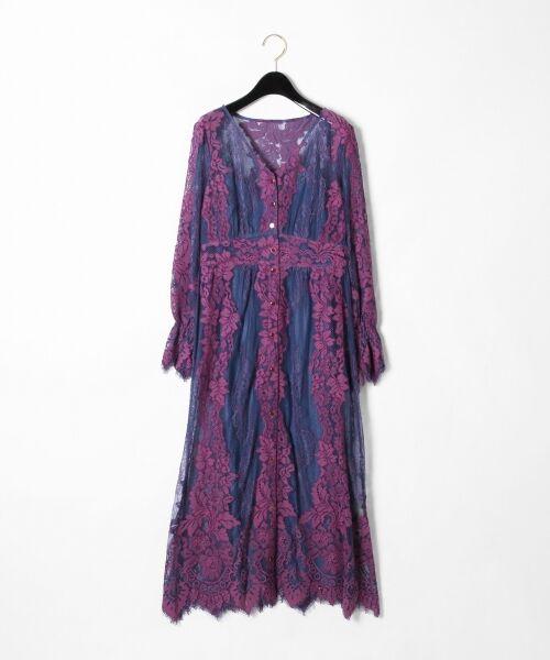 GRACE CONTINENTAL / グレースコンチネンタル ドレス | コードレースロングワンピース(ブルー)