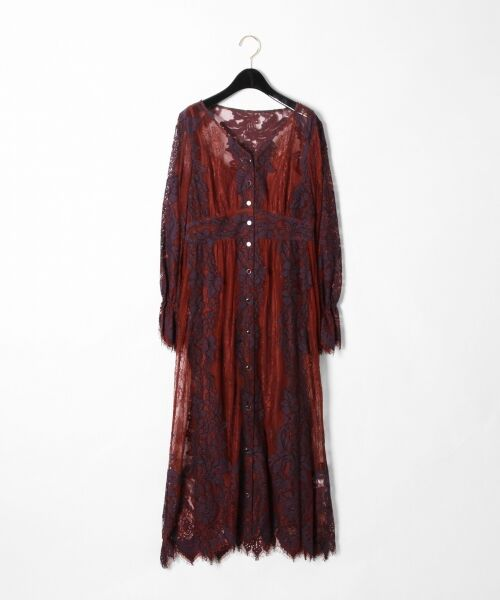 GRACE CONTINENTAL / グレースコンチネンタル ドレス | コードレースロングワンピース(ブラウン)