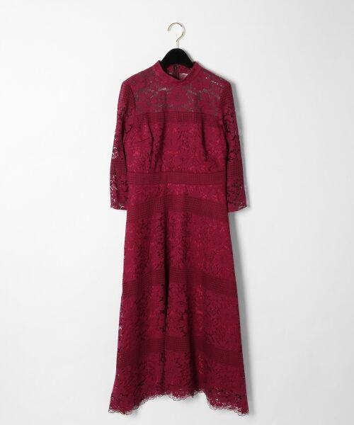 GRACE CONTINENTAL / グレースコンチネンタル ドレス | ハイネックレースワンピース(パープル)